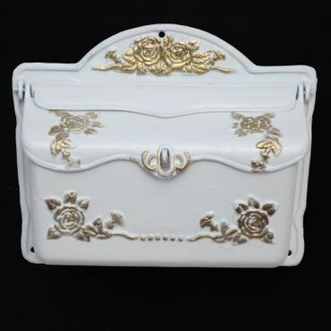 Letter box white gold design antique look cast iron mailbox  – image 1
