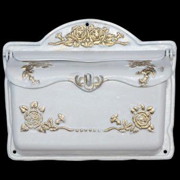 Letter box white gold design antique look cast iron mailbox  – image 2