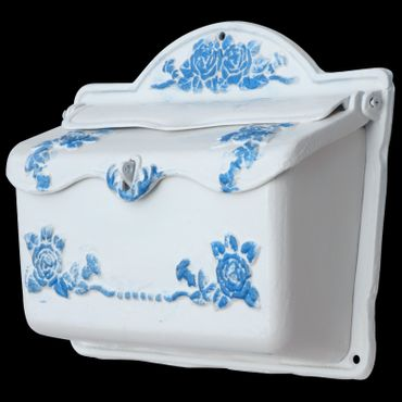 White blue mailbox antique nostalgic design cast iron  – image 2