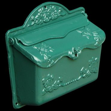 Nostalgic green laquered mailbox antique roses cast iron nostalgic letter box – image 2