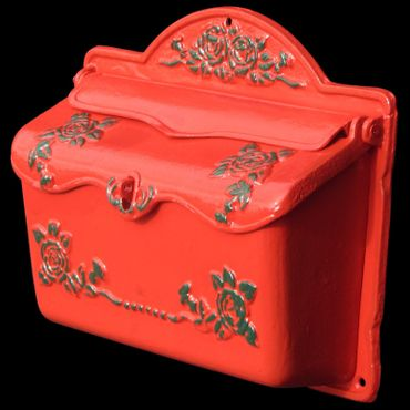 Red green mailbox roses cast iron laquered letter box – image 2