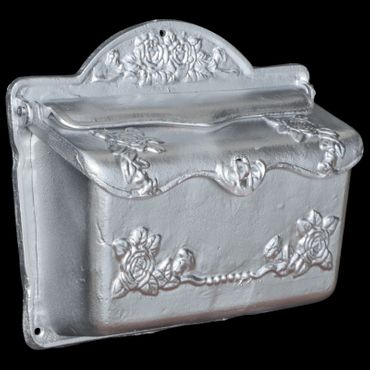 Rose motive mailbox silver shiny laquered letter box cast iron – image 2