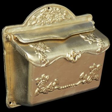 Golden mailbox antique design roses cast iron letter box elegant nostalgic – image 3