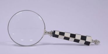 Black white magnifying glass reading help silver frame