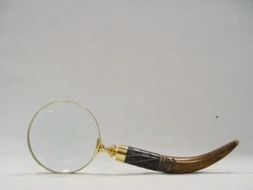 Hand magnifying glass winding handle horn golden frame reading help office
