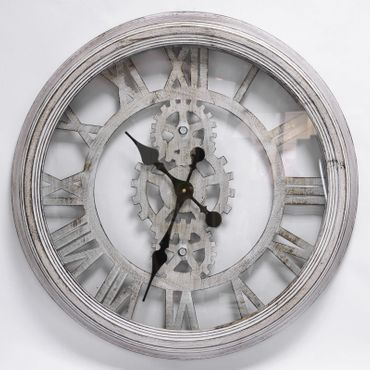 Steampunk metal wall clock nostalgic vintage antique white