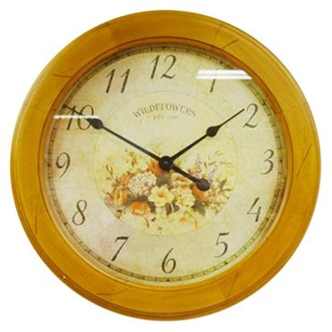Mechanical wall clock nostalgic antique design decoration flowers