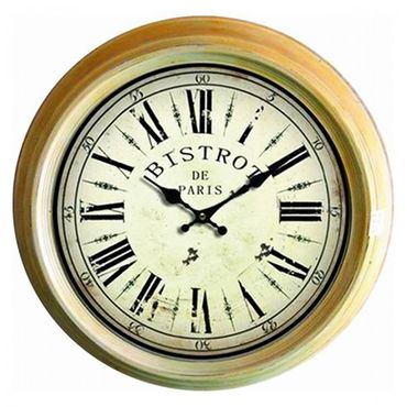 Bistro metal wall clock french nostalgic cafe coffee BISTROT DE PARIS