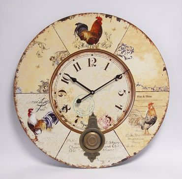 Kitchen wall clock rooster nostalgic chicken decoration vintage