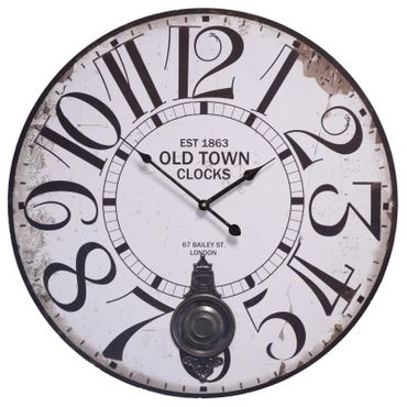 OLD TOWN CLOCKS round white shanny wall clock pendulum wood look nostalgic