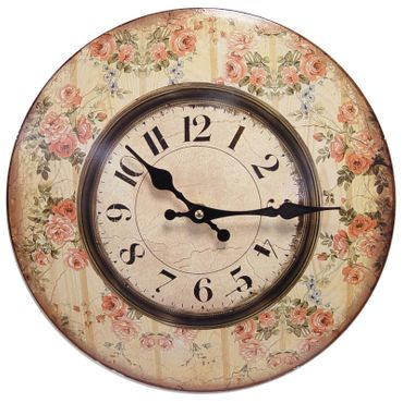 Garden clock wall vintage metal roses romantic motive decoration