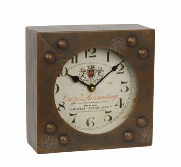 Table clock iron borwn industrial look vintage shabby used look