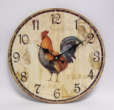 Rooster chicken kitchen wall clock nostalgic decoration vintage