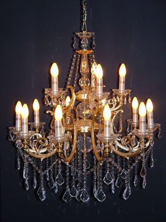 Baroque ceiling lamp lantern gold 15 lightbulbs antique decoration reproduction