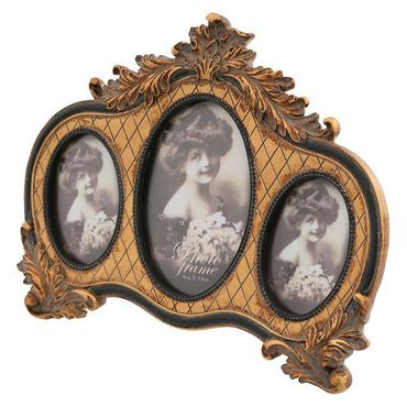 3 piece picture frame oval frame in a row decoration antique look – image 2