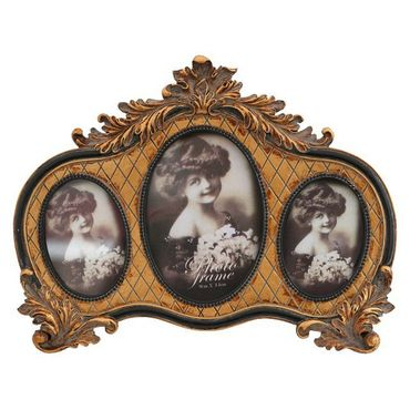 3 piece picture frame oval frame in a row decoration antique look – image 1