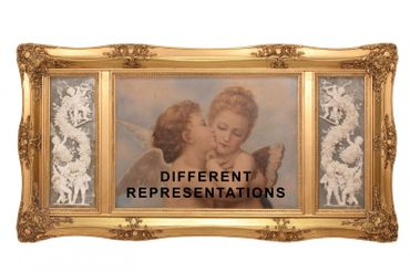 Picture frame angel wood oil painting 3D resin gold frame decoration