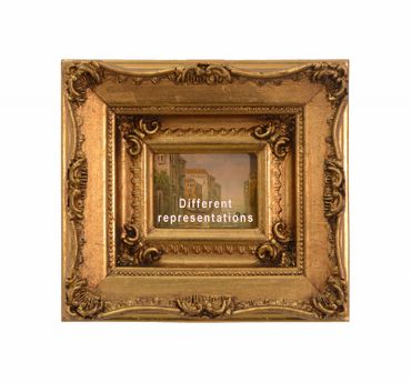 Resin wood picture frame oil painting gold decoration wall house city