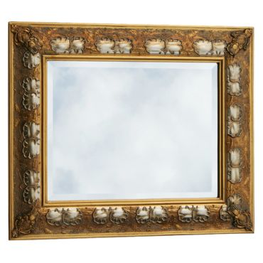 Gold silver two-tone baroque mirror antique look wall mirror 40 x 50 Wood Mirror – image 1