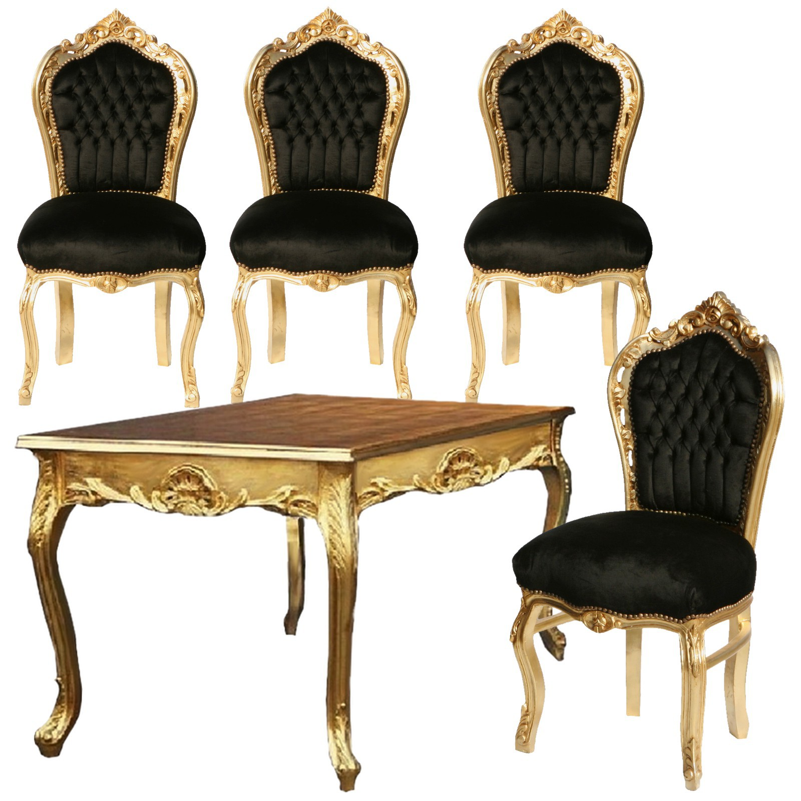 k chentisch st hle set angebot barockm bel schwarz barock design mit tisch gold. Black Bedroom Furniture Sets. Home Design Ideas