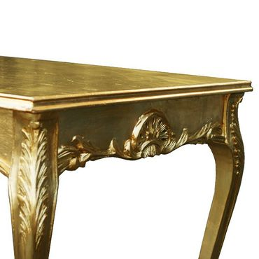 80x80 Gold Table + 4 Beautiful Gold Wooden and White Leatherette Chairs – image 5
