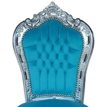 80x80 Baroque Style Silver Table and 4 Chairs with Bleu Velvet Cushions – image 2