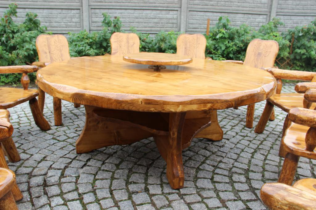 Gartentisch mit Drehplatte Fichte für 10 Personen - massive ...