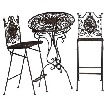 Bistro metal garden furniture set of 1 bar table & 2 stools with brown ornaments – image 1