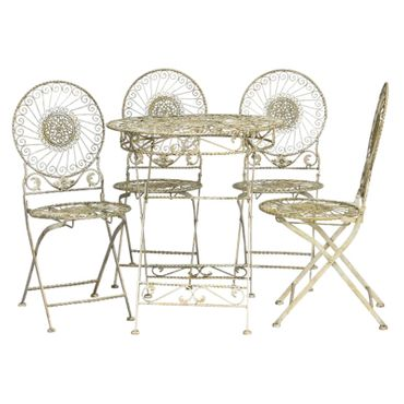 Metal furniture in antique style in beige with 4 garden chairs and 1 table garden – image 1