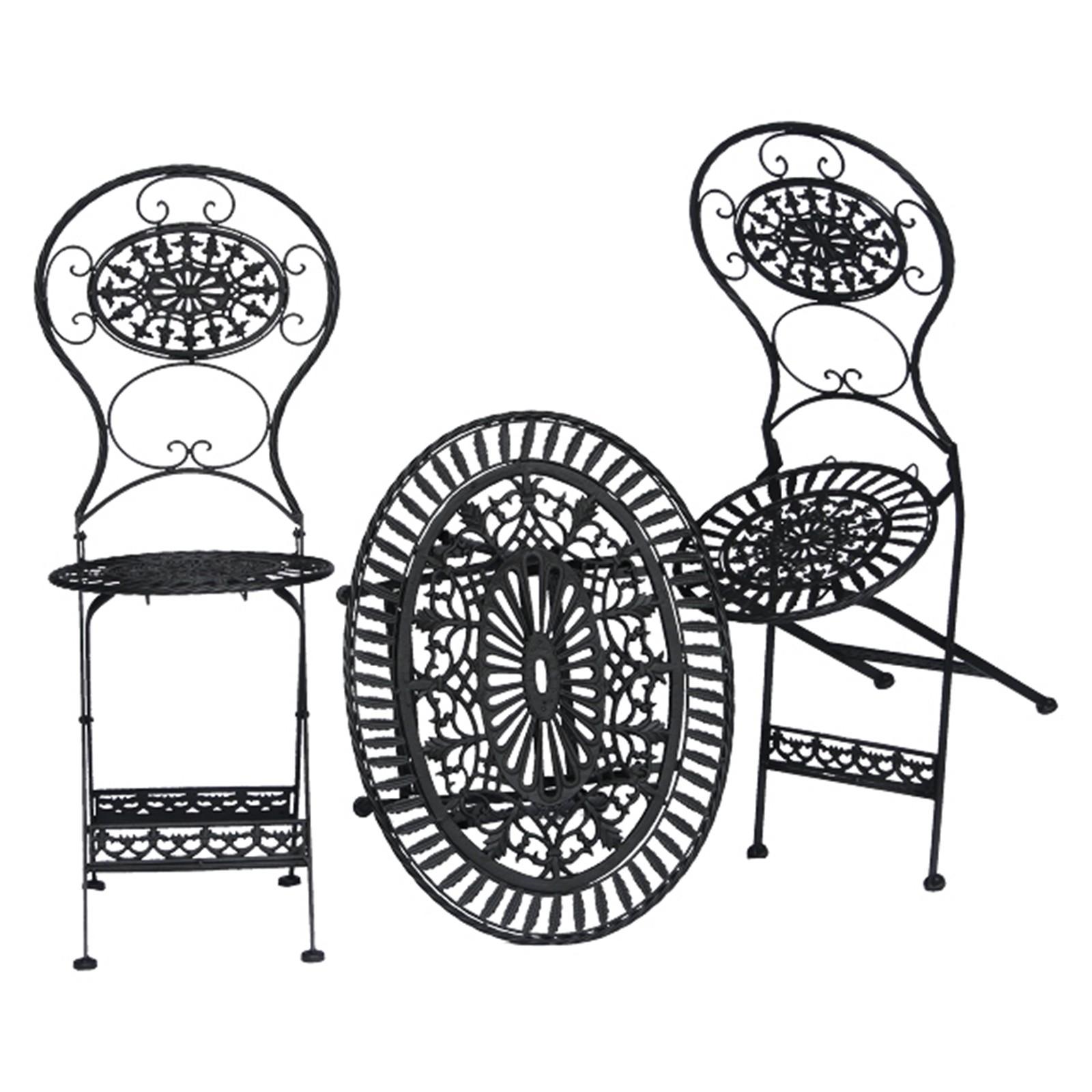 balkonm bel terrasse garten eisen set au en sitzgruppe 2 st hle 1 tisch schwarz. Black Bedroom Furniture Sets. Home Design Ideas