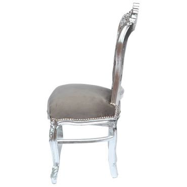 Gray antique dining chair in Baroque style with wooden frame in silver and with arm rests nostalgic look – image 3