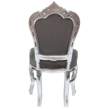 Gray antique dining chair in Baroque style with wooden frame in silver and with arm rests nostalgic look – image 4