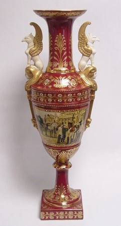 Big barqoue vase porcelain 2 eagle handles dark red backround fine ornaments gold