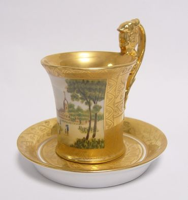 Baroque coffee cup high quality hand painted golden backround