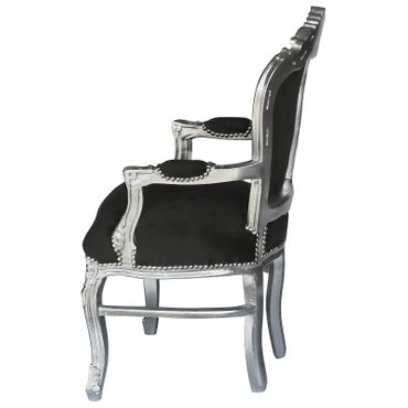 Noble chair in black fabric with silver-leafed wood – image 3