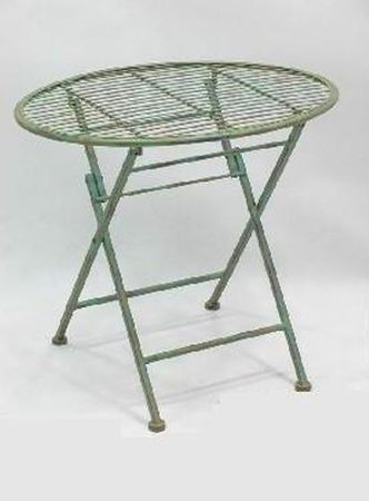 Brown metal folding oval table for children with flower stand for terrace garden