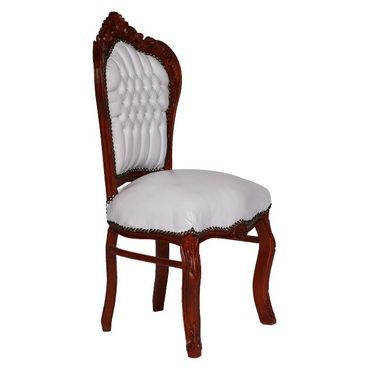 6 Chairs Brown Wood Hand Sculpted Solid Wood Frame White Leatherette Cushions – image 2
