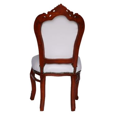 6 Chairs Brown Wood Hand Sculpted Solid Wood Frame White Leatherette Cushions – image 4