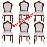 Stuhl Stühle Barockmöbel Essgruppe Möbelstücke 6 er Set mahagoni braun weiß  001