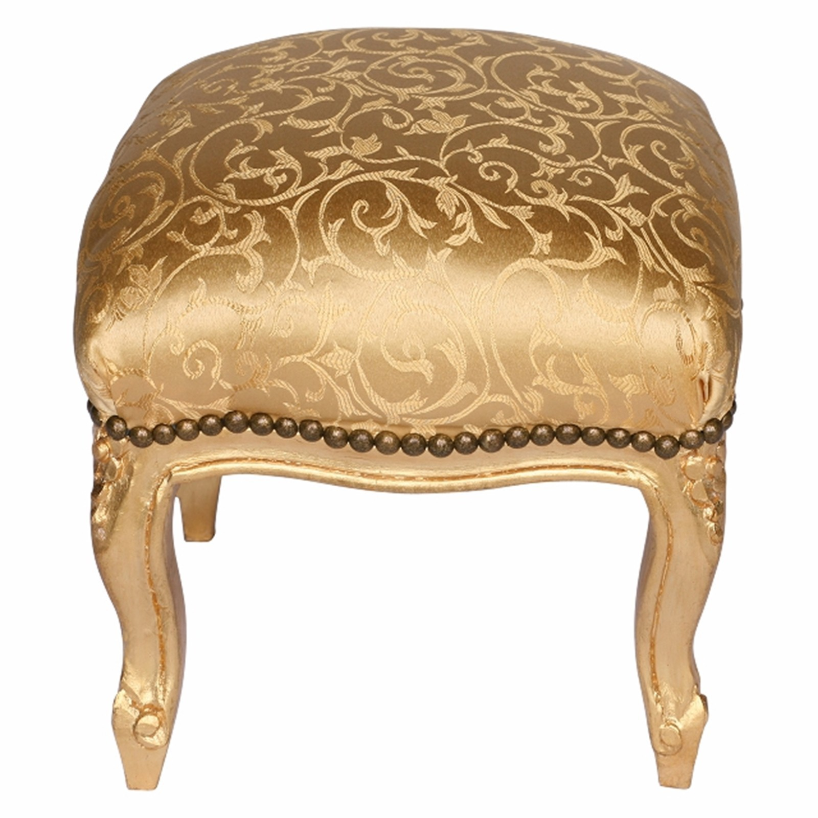 fu st tze goldener hocker barock gold gemustert stoffbezug. Black Bedroom Furniture Sets. Home Design Ideas