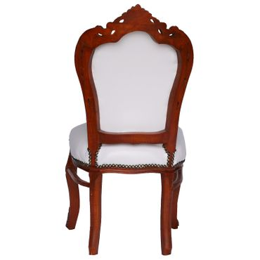 Elegant Baroque White Table and 6 Matching Chairs Brown Solid Wood White Leatherette – image 5