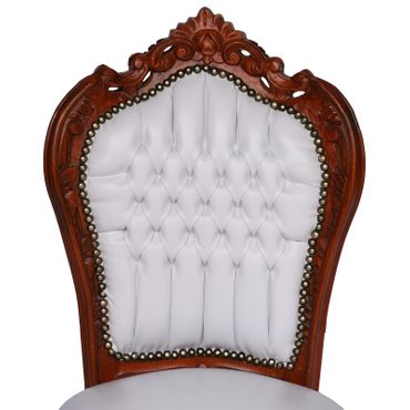 Elegant Baroque White Table and 6 Matching Chairs Brown Solid Wood White Leatherette – image 6