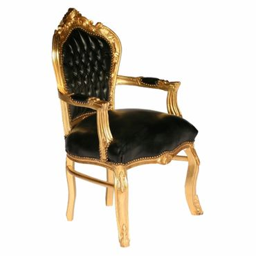 Black carver accent dining chair in antique baroque furniture style – image 2