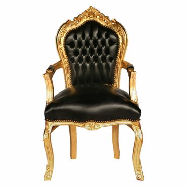Black carver accent dining chair in antique baroque furniture style – image 1