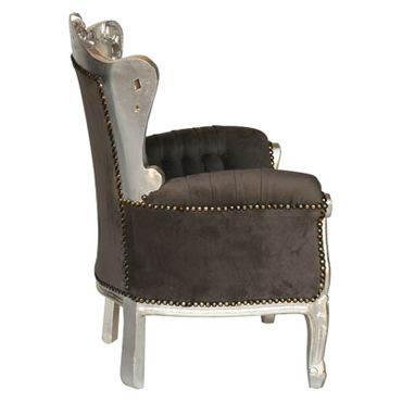 Beautiful Grey Velvet Armchair Baroque Hand Carved Silver Wooden Frame – image 2