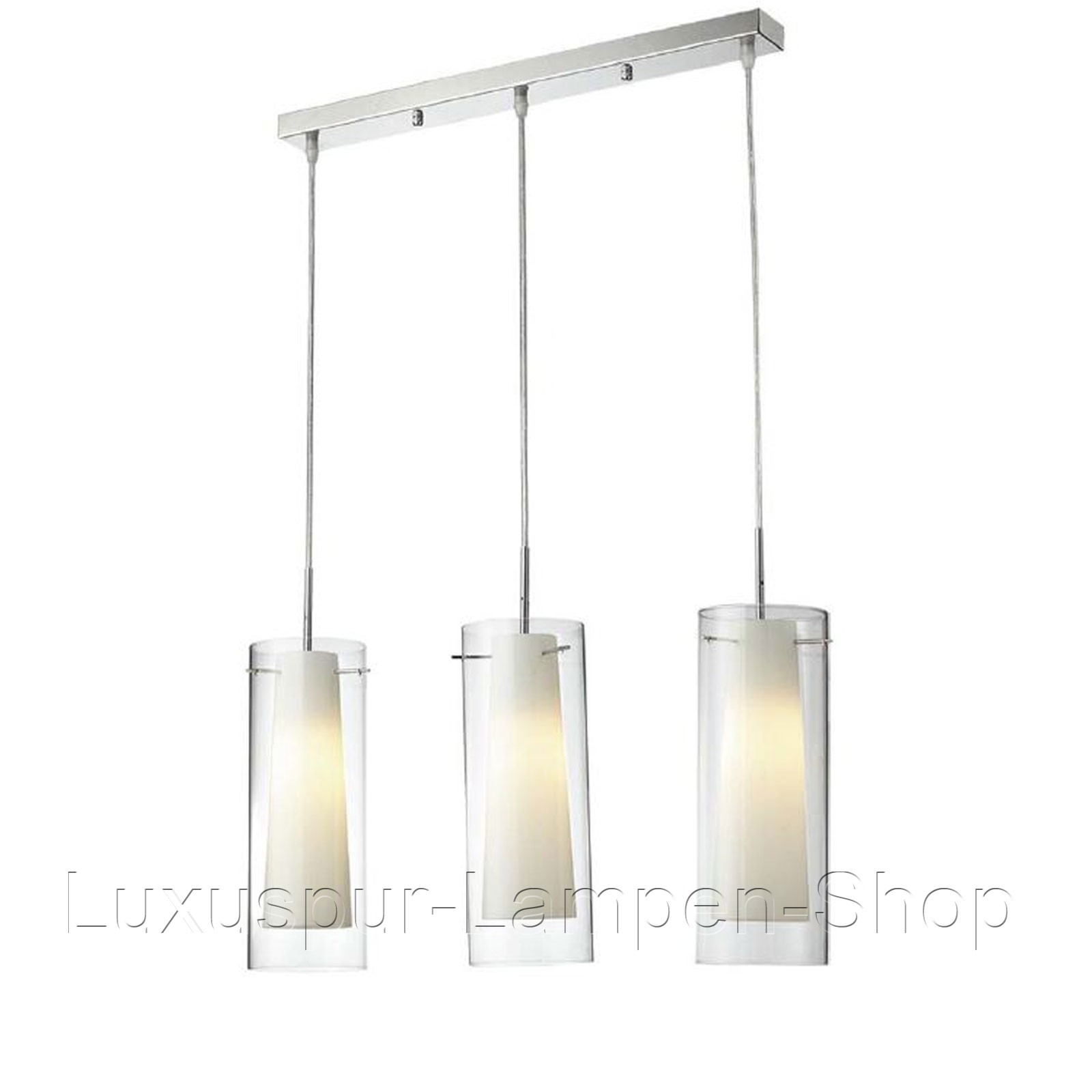 deckenlampe rolo e27 3x60w pendellampe modern rund metall glas silber 120x62cm ebay. Black Bedroom Furniture Sets. Home Design Ideas
