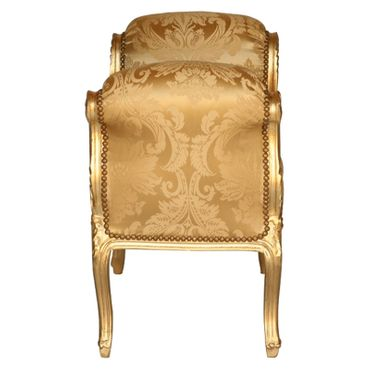 Classic Gold Flower Pattern Bench with Armrest Baroque Style Carved Frame – image 3
