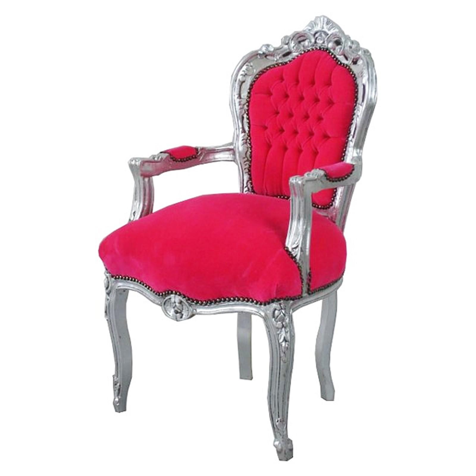 Esszimmer Stühle Esstisch Stuhl Sessel Barock Antik Pink Silber