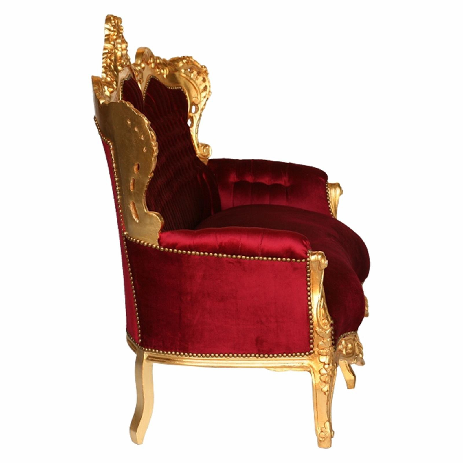 big sofa barock 3 sitzer couch bordeaux rot gold exklusiv k niglich antik stil. Black Bedroom Furniture Sets. Home Design Ideas