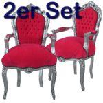 Armlehnen Stuhl Barockstühle 2er Paket Sessel Esszimmerstühle Barock pink silber 001